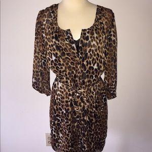 Express Leopard Print Shirt Dress